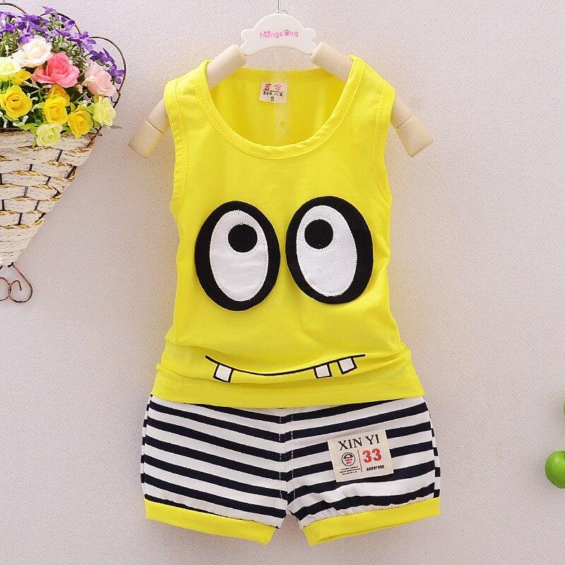 Купить с кэшбэком New Fashion Summer Children Baby Boys Clothes Girls Tracksuits Infant Clothing Kids Cotton Cartoon Vest Shorts 2pcs/Sets Suits