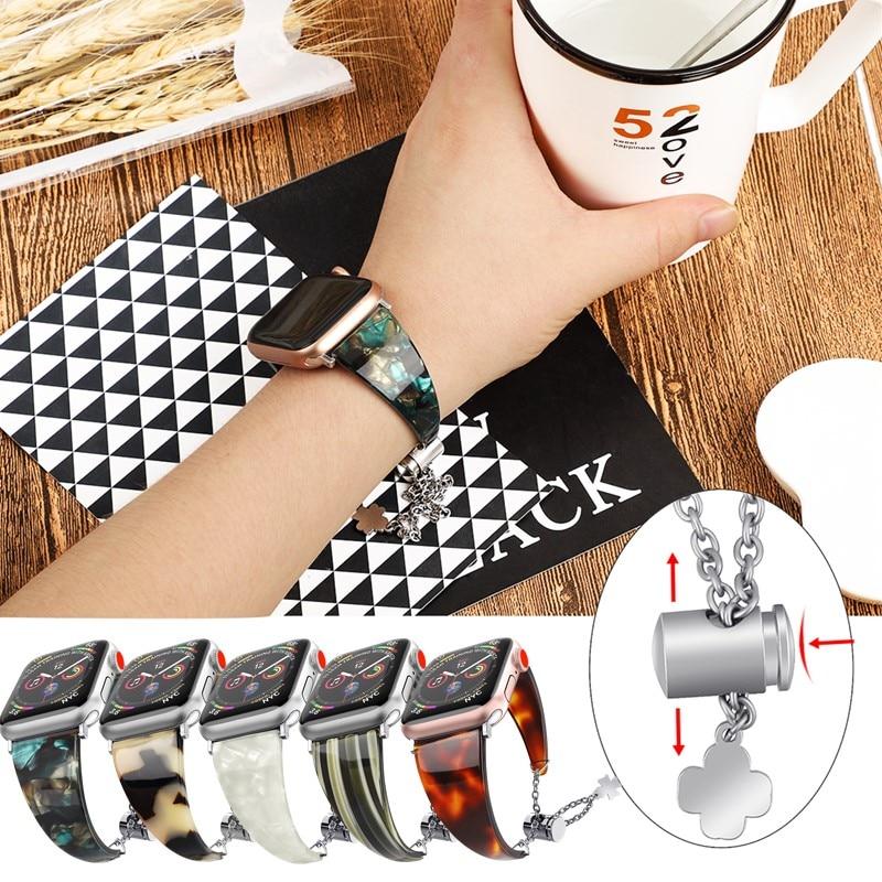 Lente pulseira de resina para apple watch band 5 4 cinta 40 44mm pulseiras femininas relógio inteligente acessórios para iwatch 3/2/1 38 42mm bel