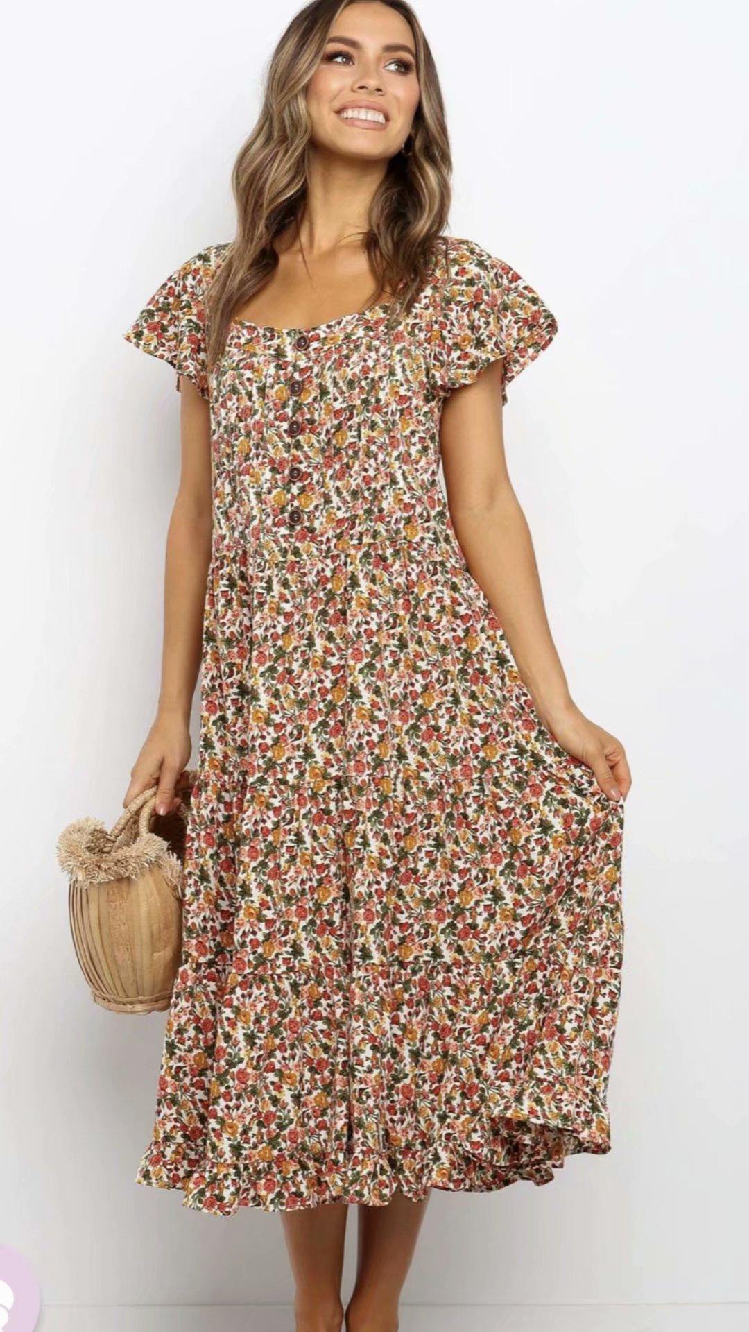 2020 new Spring Summer European Floral Printed female Dress zaraing vadiming sheining Women dress streetwear S493