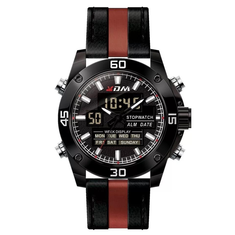 Esportes ao ar Eletrônico Quartzo Dupla-display Livre Relógio Masculino Multifuncional Calendário Impermeável Duplo-movimento Militar Kdm
