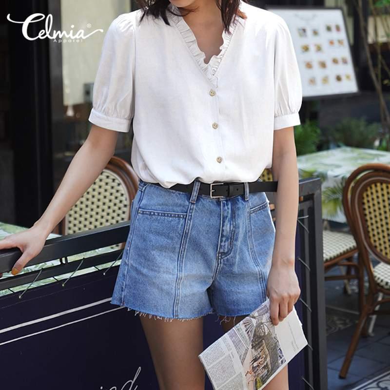 Celmia de talla grande Blusas moda mujer verano superior Puff manga Chic Blusas Sexy cuello en V botones Casual trabajo Oficina señoras camisas 7