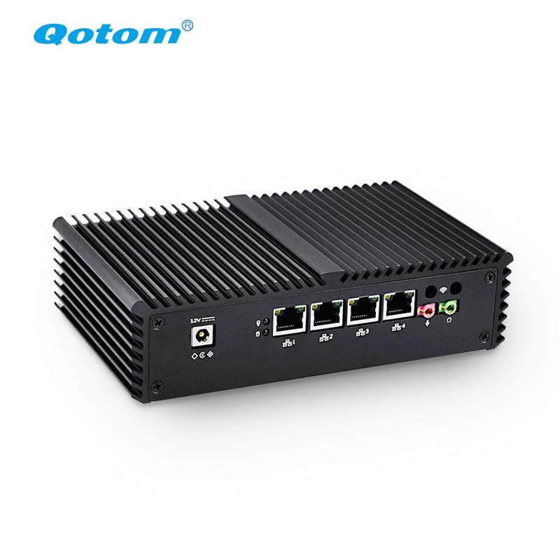 Qotom Q330G4-S05 دعم كمبيوتر AES-NI كور i3 4005U راوتر جدار الحماية مع 4 جيجابت الزنك هيكلبون كمبيوتر مصغر