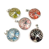 new tree shaped zinc alloy buckle shape thousand flowers natural stone pendant making necklace accessories jewelry size 28x30mm