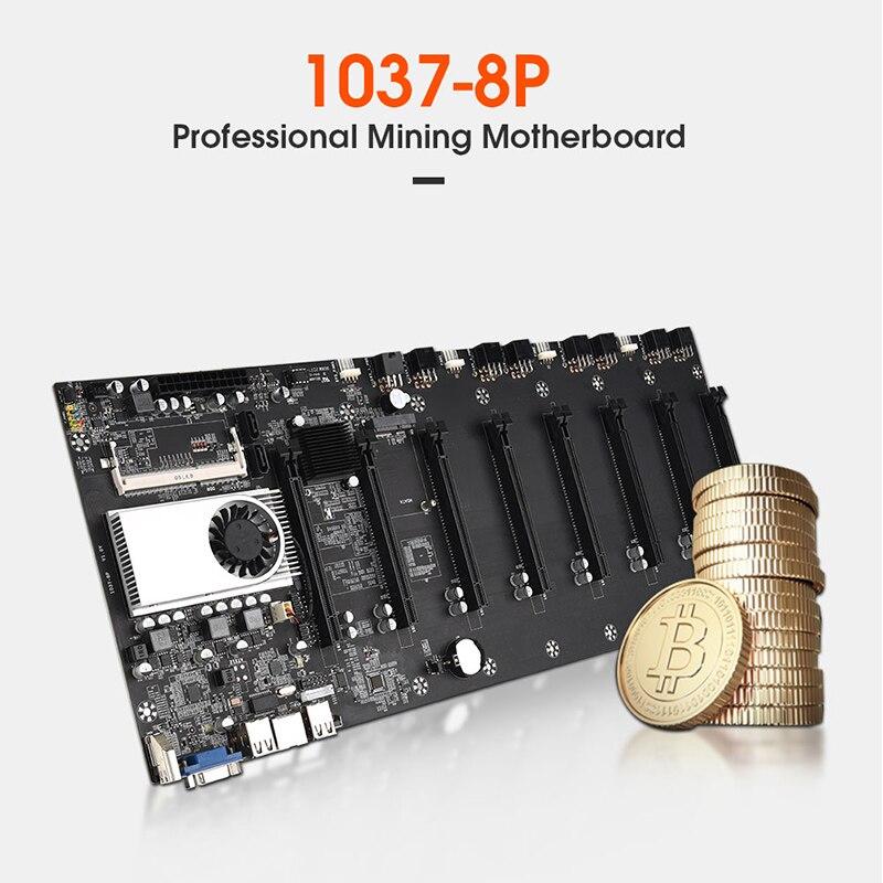 BTC-T37 آلة التعدين اللوحة الأم وحدة المعالجة المركزية 8 بطاقة الرسومات المكونات DDR 3 الذاكرة إلخ