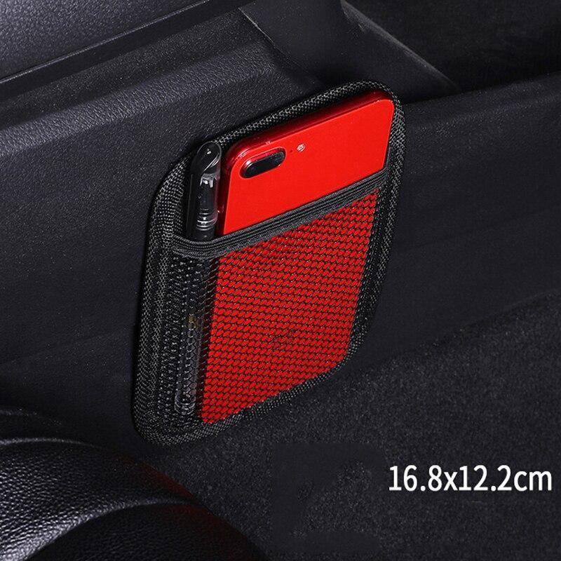 Universal Negro asiento trasero de coche vehículo malla de malla organizador bolsa de almacenamiento soporte de teléfono organizador bolsa de estilo de coche
