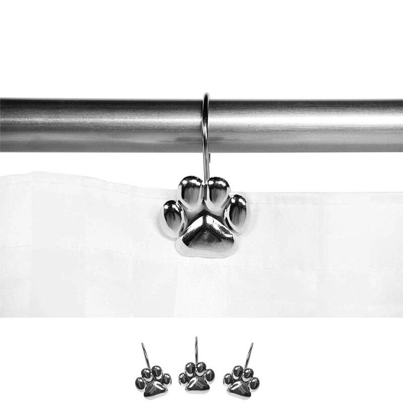12Pcs Set Cat Footprint Decorative Shower Curtain Hooks Rust Proof Rings Hangers Home Bathroom Decorative Polished Chrome for Ro