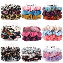 3Pcs Einfache Stoff Scrunchie Frauen Elastische Haar Gummibänder Zubehör Für Mädchen Krawatte Haar Seil Ring Halter Kopfschmuck