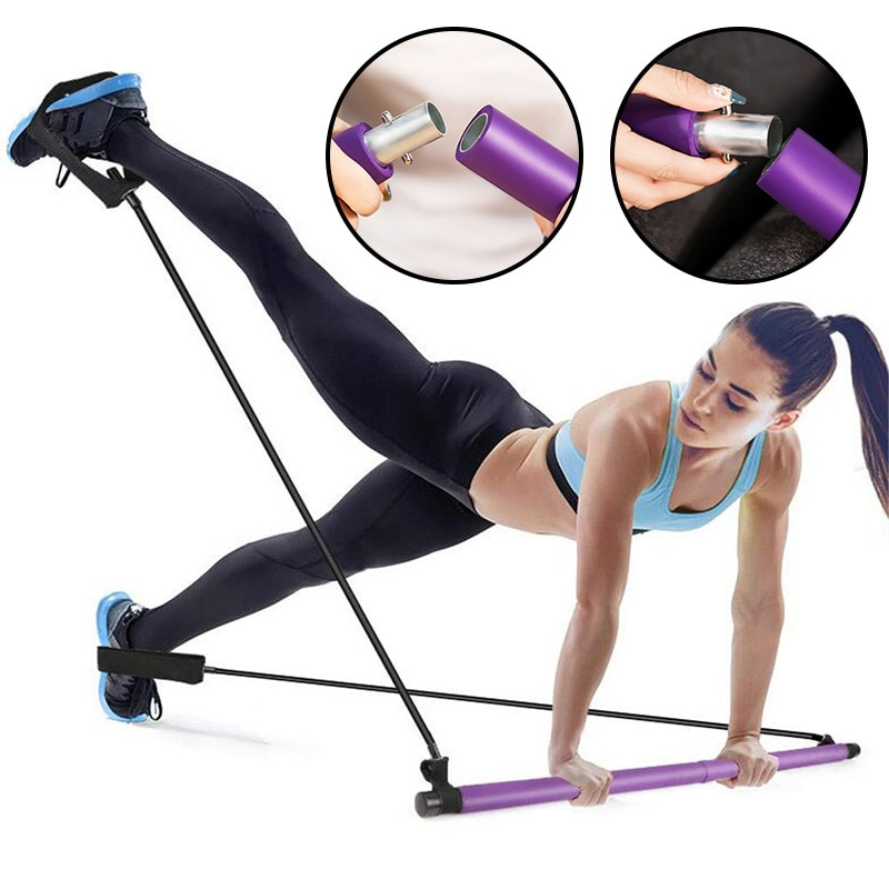 Pilates Bar Kit with Resistance bands Portable Fitness Pilates Stick Crossfit Bodybuilding Yoga Elastic Band Exercise Workout