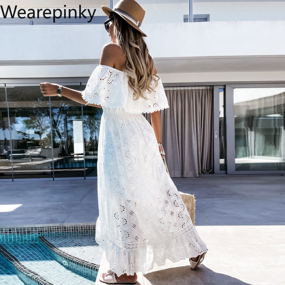 white lace details round neck short sleeves mini dress with lined Bohemian Lace Lace White Beach Dress for Women 2021 Summer Chest One Word Shoulder Sexy Fashion with Short Sleeves Dresses