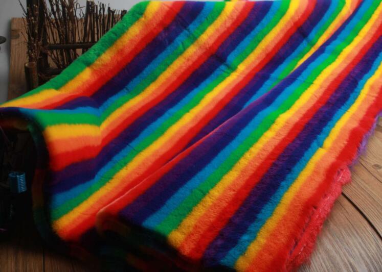Rex conejo pelo arcoíris alfombra de felpa suave tela de lana para abrigo textiles parche hecho a mano Jacquard grueso tecido tela de lentejuelas A339