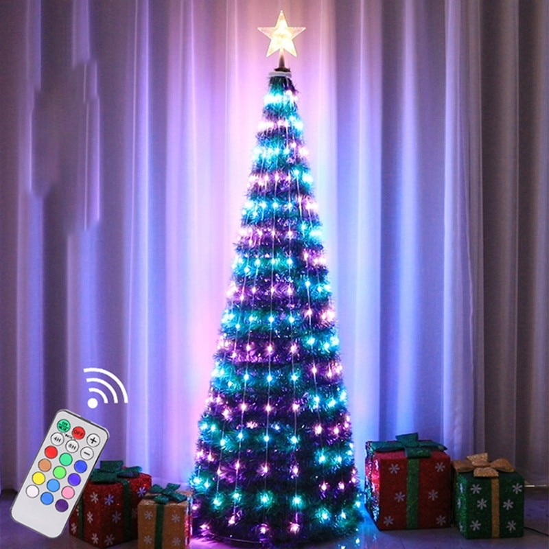 1.2m Waterproof Christmas Tree light 16 Strips Foldable LED light tree with Tree Top Star Point for Garden Christmas Decoration