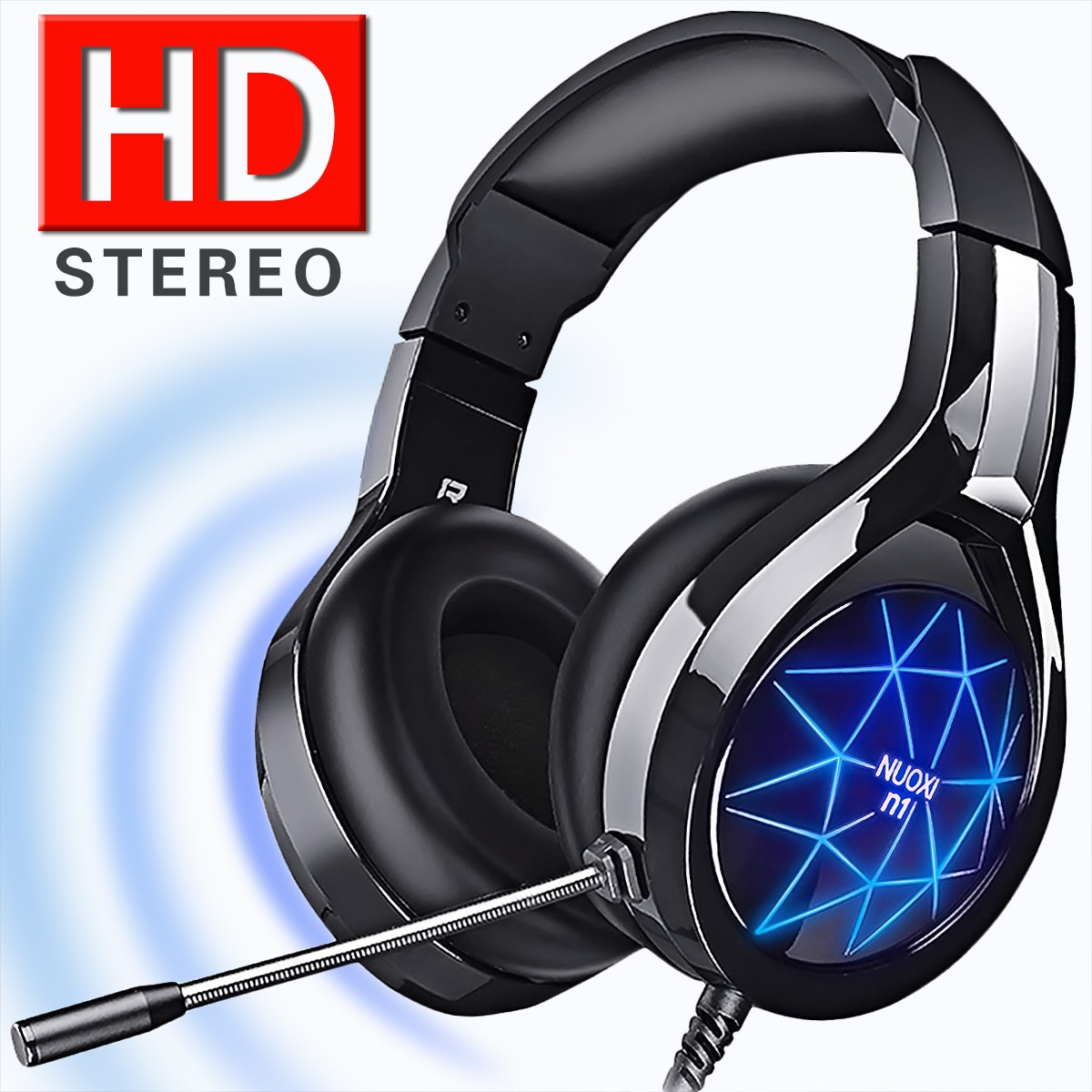 Gaming Headset Headphones Surround Sound Stereo Game Earphones Wired Helmet with HD Microphone For G