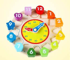 Funny Colorful Wooden 12 Numbers Clock Toys Digital Geometry Cognitive Matching Clock Toy Baby Kids Early Educational Toy Puzzle