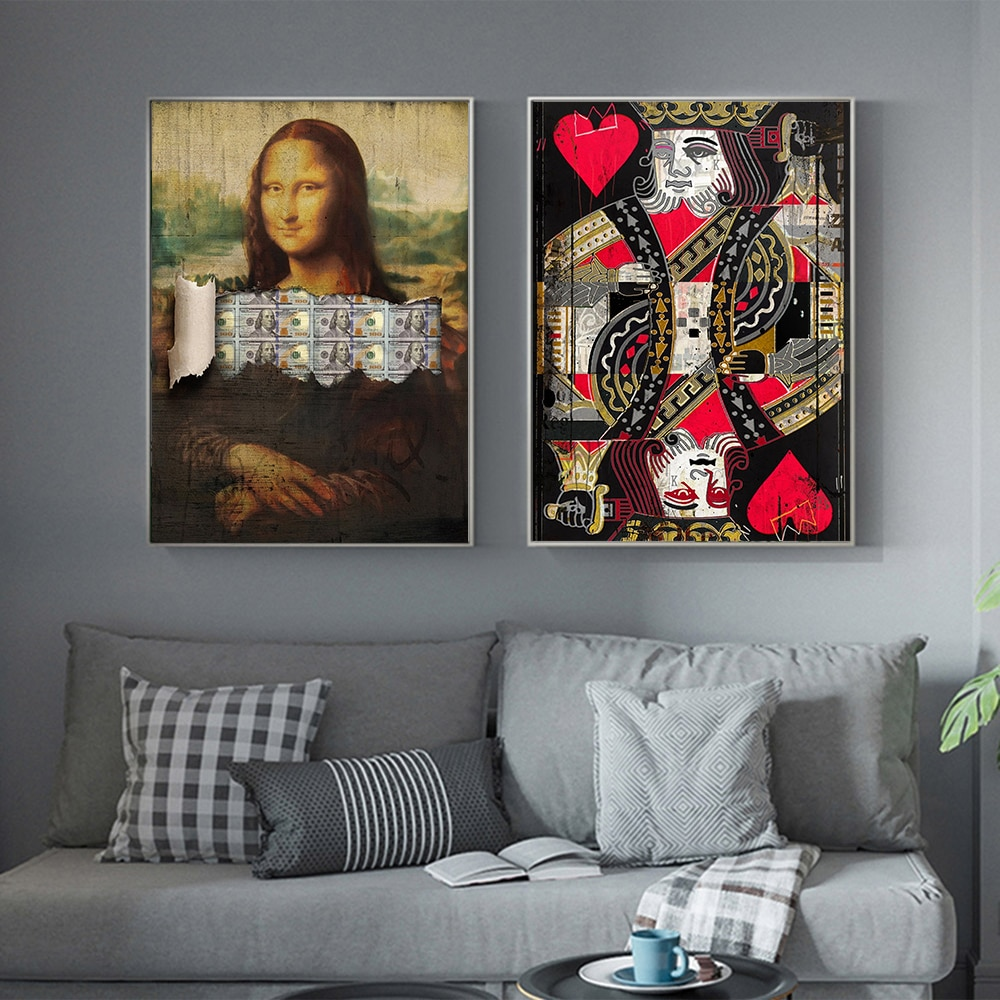 Aahh pintura da lona dinheiro lisa cartaz jogar sua mão pop cultura lona poker cartão arte da parede imagem para decoração casa