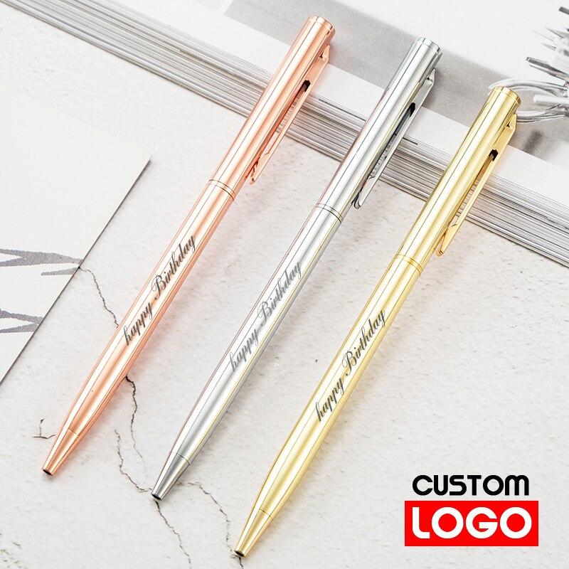 Новинка металлическая шариковая ручка под розовое золото с логотипом на заказ, шариковая ручка с гравировкой имени, рекламная ручка