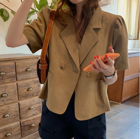 CMAZ 2021 Summer Women Chic Office Single Breasted Blazer Vintage Thin Coat Fashion Notched Collar S