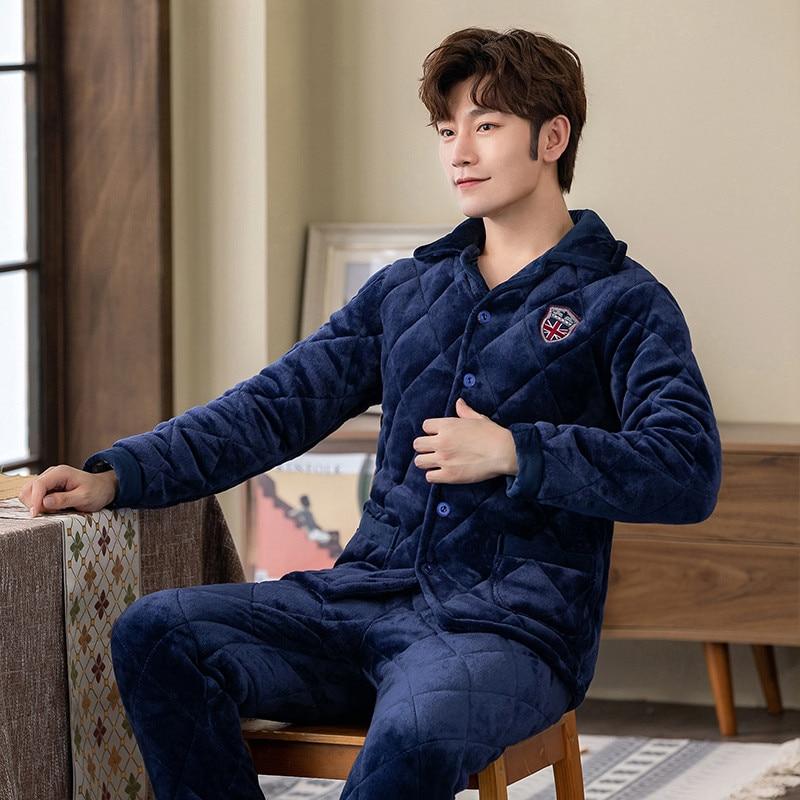 2019 invierno cálido Femal franela gruesa ropa de dormir traje 2 uds pijama de hombre ropa de casa Casual caliente para hombres