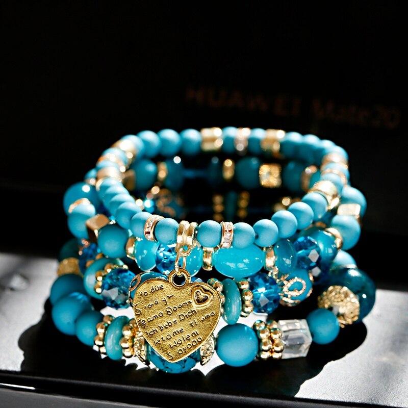 4pcs/Set Fashion Boho Blue Bracelets&Bangles Women Summer Gold Heart Beaded Bracelet Colorful Stone Wrap Bracelet For Women