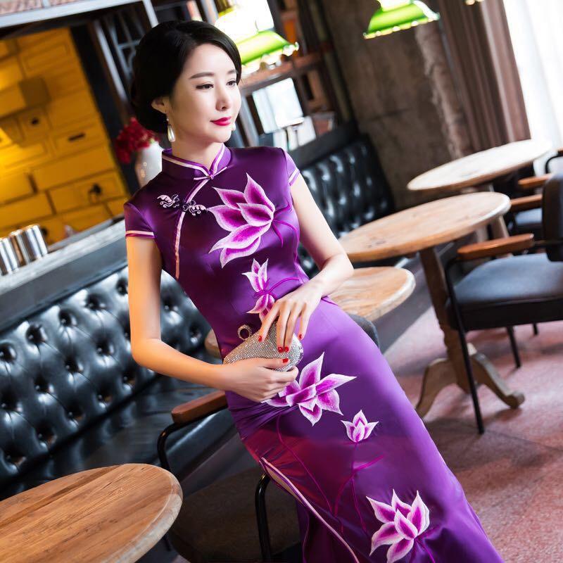 Sastre tienda hecho a medida vestido chino Madre de la novia vestidos bordado qipao bordado chino vestido cheongsam