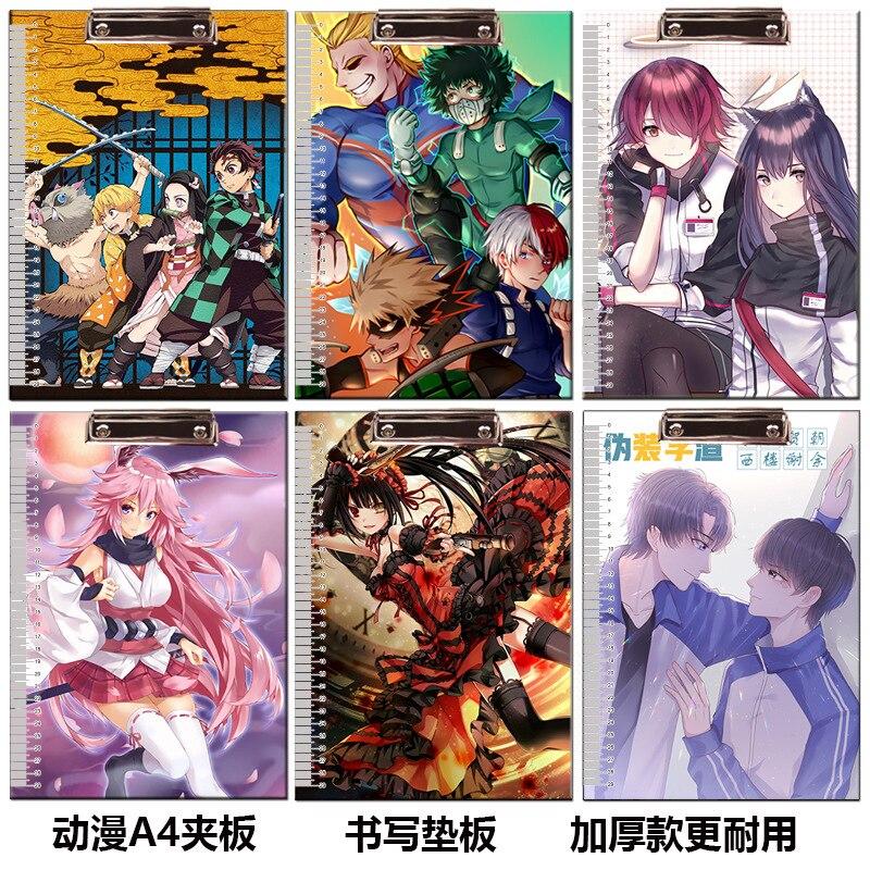 Anime ONE PIECE Demon Slayer Fecha A Live, Portapapeles de juguete, Clip, carpeta, tablero, archivo, dibujo, almohadilla de escritura, juguete escolar, regalo A4