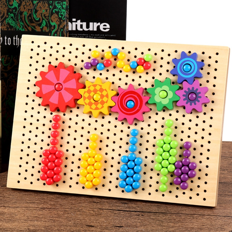 DIY Mushroom Nail Flying Chess Combination Educational Wooden Toys Table Games Clicking Interconnecting Blocks Daycare Baby Gift