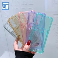 shockproof clear silicone phone case for samsung s21 s20 s10 plus note 20 ultra s20 fe a12 a22 a32 a42 a52 a72 card pack case
