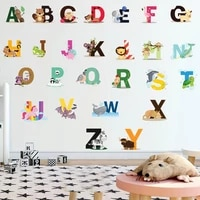 wall stickers 26 english letter stickers english words cartoon animal wall stickers kids room stickers