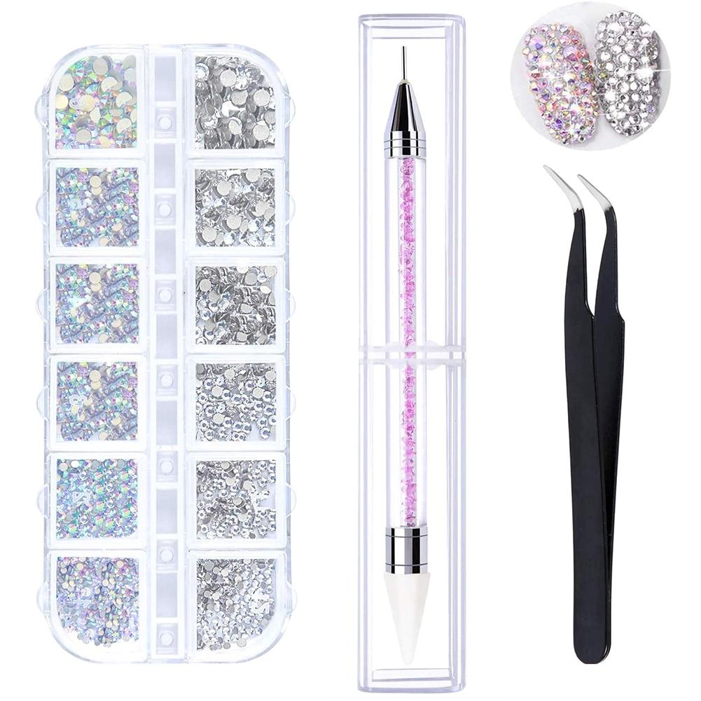 Набор для дизайна ногтей, 1 коробка, цветные стразы АВ с пинцетом и точечными ручками, кристаллы для нейл-арта, 3D украшения, кристаллы АВ, TLS