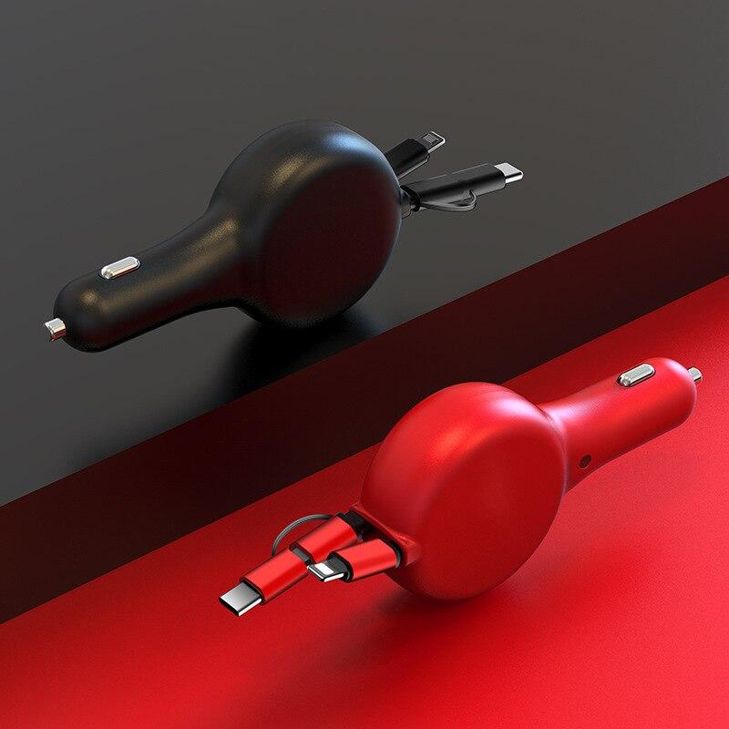 Автомобильное зарядное устройство для быстрой зарядки телефона IPhone Android порт Type C Телескопический с тремя гнездами автомобильное зарядное ...