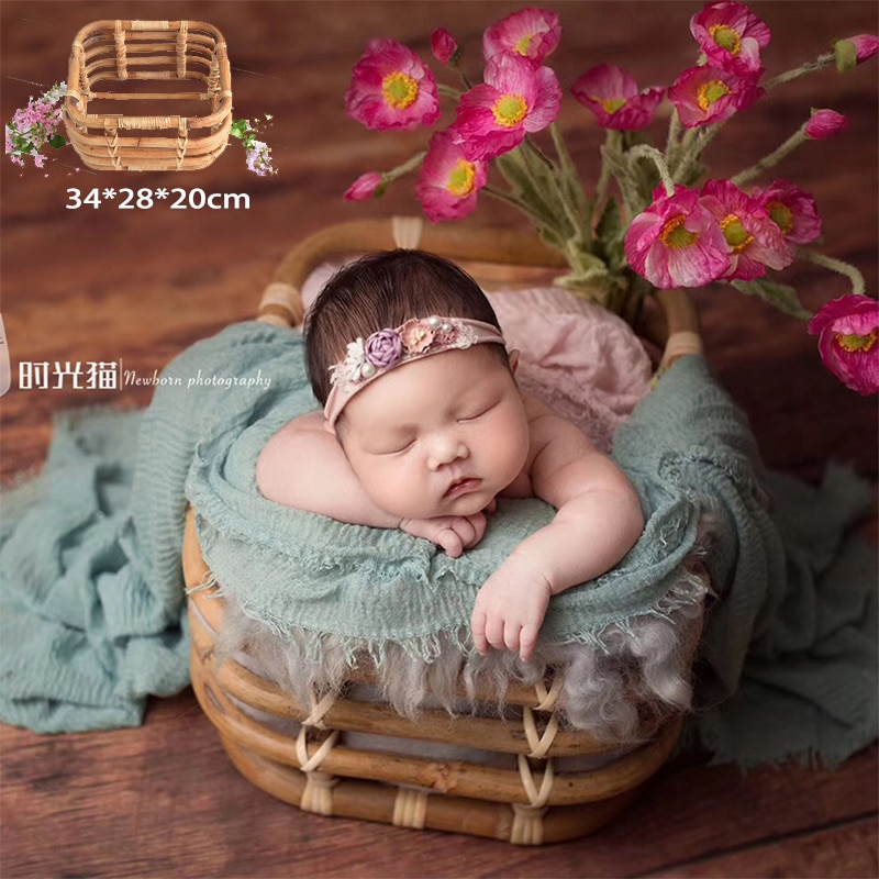 Newborn Photography Props Weaving Baskets Full-moon Baby Photos Bed Posing modeling Infant Photo Shoot Accessories basket Beds