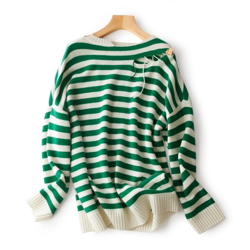 SHUCHAN Destroy Hole Design Women Sweater Pullover New 2021 Autumn Winter Irregular Neck Wool  Streetwear  Striped Fall Warm