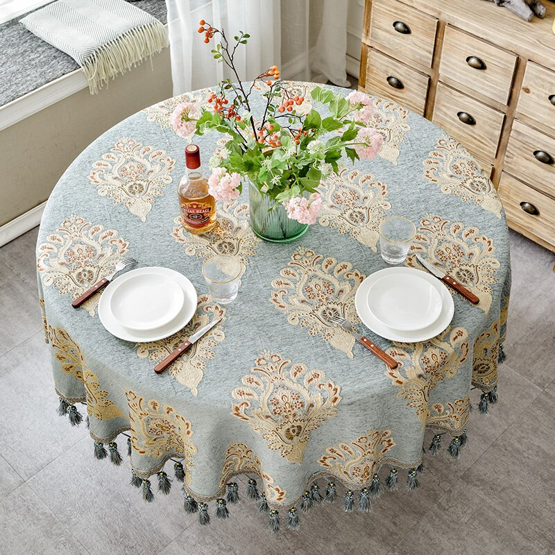 Mantel de mesa redondo de estilo europeo de lujo con borlas y bordado de Jacquard, mantel para decoración del hogar o casa de café