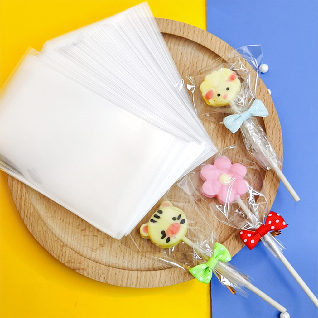 100 Pcs Transparent Candy Bags Flat Open 3 Sizes Plastic Birthday Cookie Lollipop Gift Packaging Bags DIY Kitchen Cookie Pouches