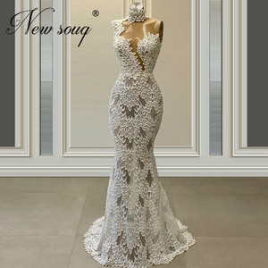 Mermaid Illusion Evening Gowns For Weddings High Neck 2020 vestidos Custom Arabic Middle East Formal Party Dress Prom Dresses