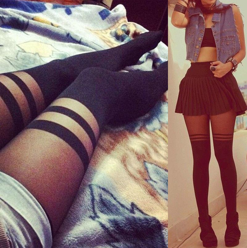 HOT Sexy Women Girls Temptation Sheer Cotton Mock Suspender Stockings Soft Striped Skinny Long Pantyhose Stockings