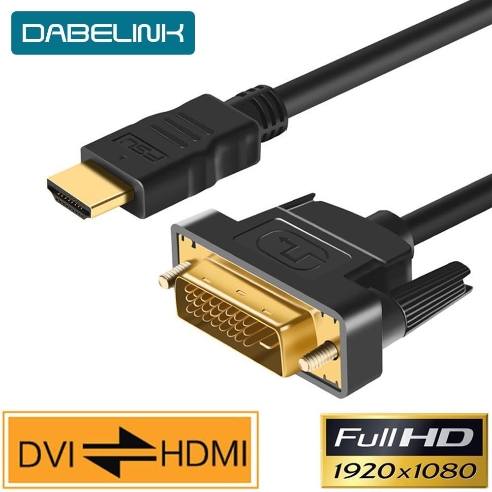Adaptador HDMI-compatible con Cable DVI macho de 24 + 1 DVI-D, chapado...