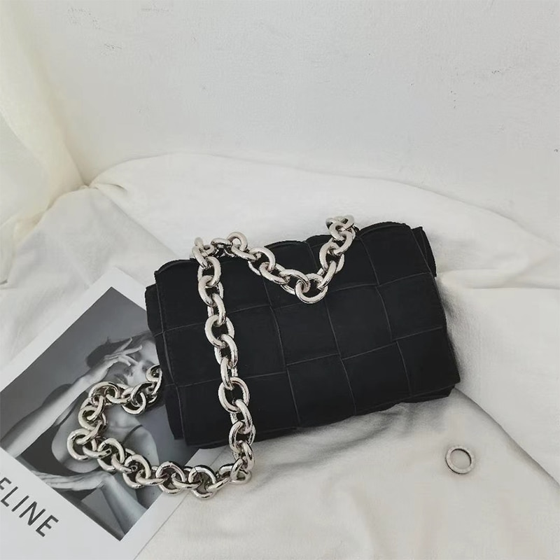 2021 Thick Metal Chain Frosted Suede Shoulder Bag Women New Designer Woven Soft Square Crossbody Bag