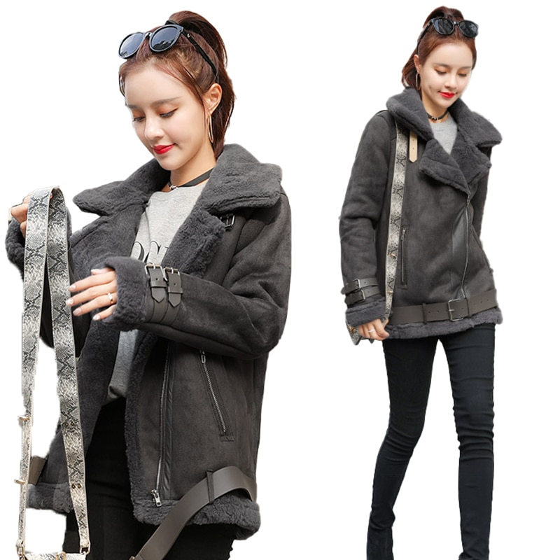 2020 Winter Women New Fashion Imitation Lamb Fur Artificial Sheepskin Cashmere Short Coat Slim Female Winter Cotton Coat 51LX