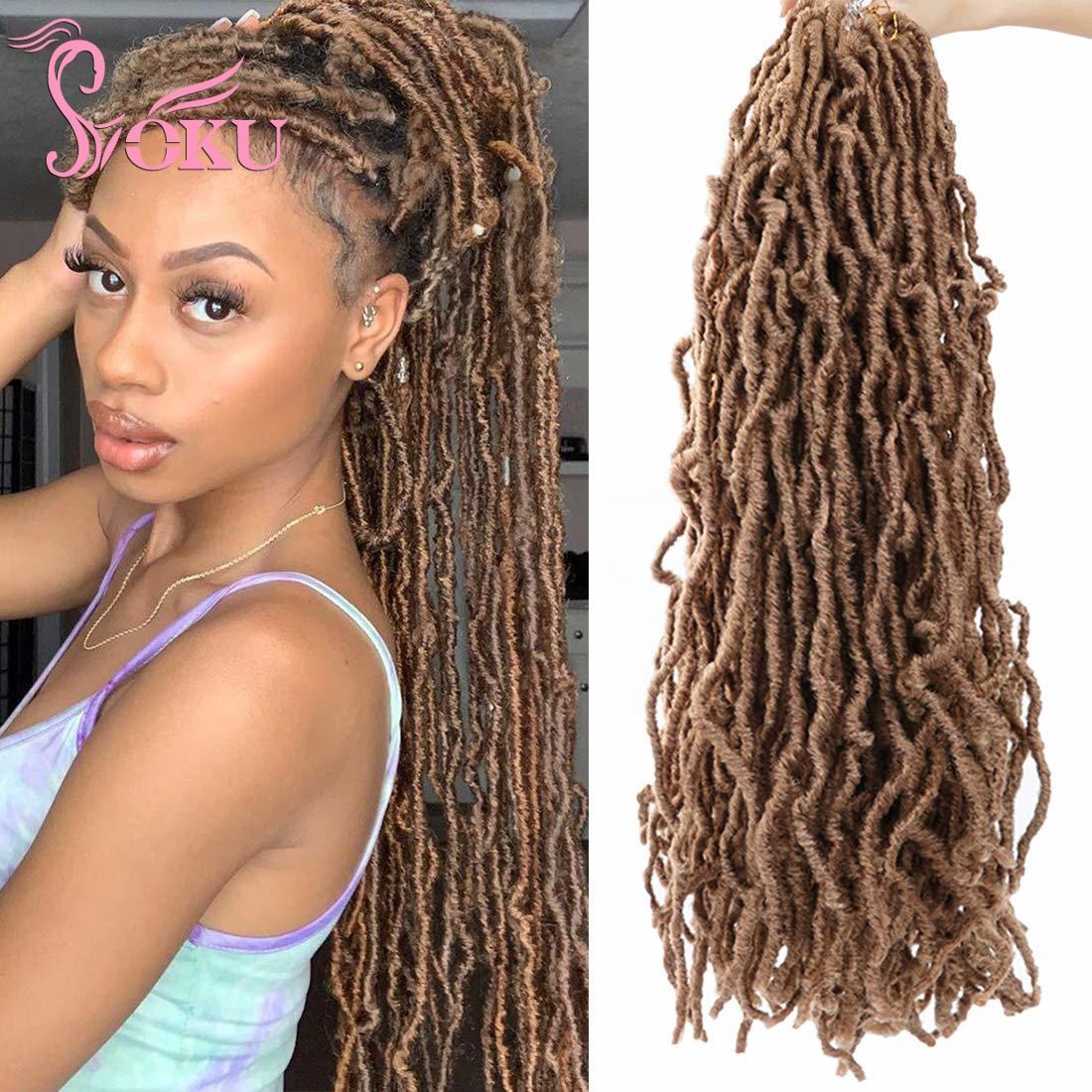 AliExpress - New Curly Faux Locs Crochet Braid Hair Synthetic Braids Pre Looped Braiding Hair Extensions SOKU Soft Wavy Small Dreadlocks