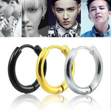 Corée du sud boucles doreilles populaires 2.5mm de large rond GD Zhilong oreille anneau boucles doreilles titane noir mâle BigBang cercle boucles doreilles cerceau