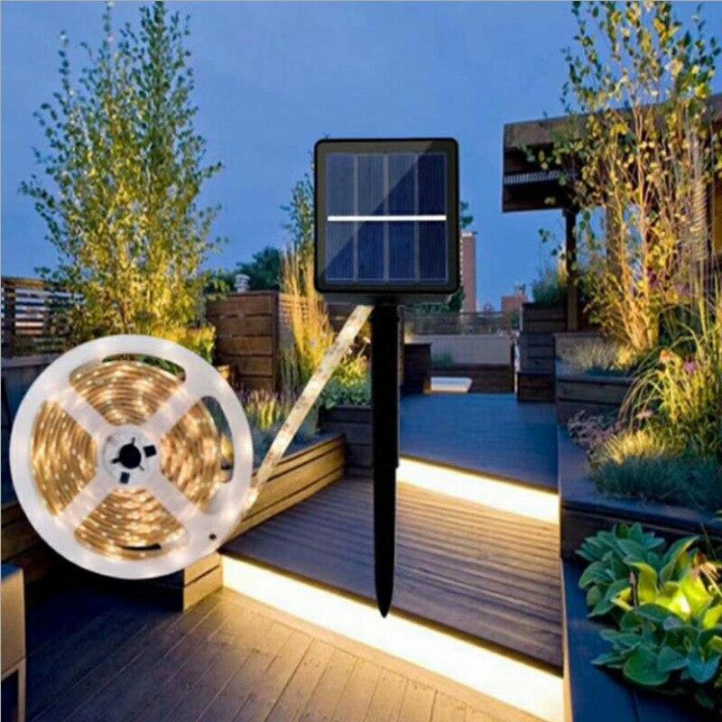 Solar Powered 1/2/3/4/5M LED Strip Light Outdoor RGB Flexible Lighting Ribbon Tape Waterproof LED Strip Backlight Garden Decor