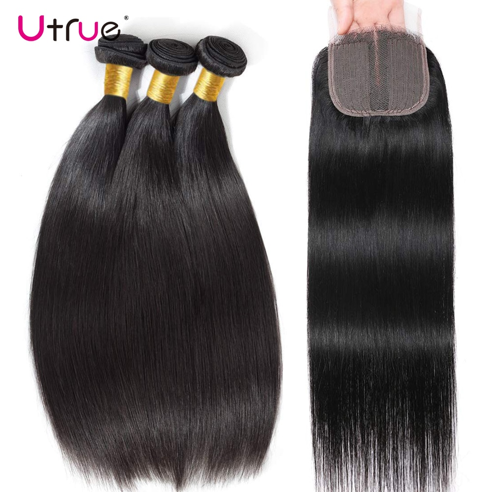 Human Hair Straight Bundles With Closure Middle Parting T Lace Long 28 30 Inch 3PCS Brazillian Bundles With Closure
