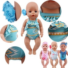 Head Flower Swimsuit Fish Scale Style For 43Cm Baby Items&18Inch American Doll Girl,Generation Born