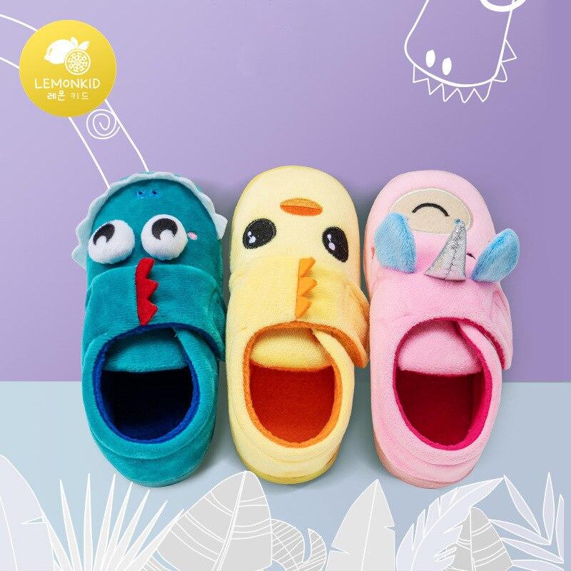 Lemonkid Brand Boys Autumn Winter Slippers Girls Cute Cartoon Home Shoes Children Warm Fur Slipper K