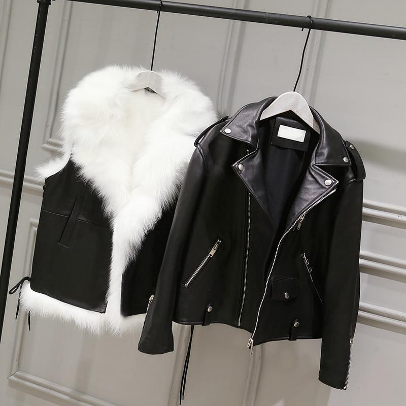 Jaqueta Couro Zipper Jacket Women Rushed New Locomotive Loose Pu And Fur Vest 2020 Autumn Winter Women's 2 Sets Sleeve Pocket enlarge