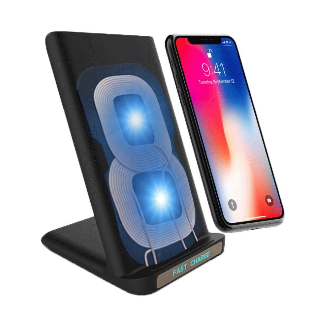 Bobina Dupla de Desktop Sem Fio Rápido Carregamento Doca Carrinho Do Carregador Do Telefone para Samsung xiaomi huiwei dropship 2020 novo