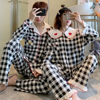 Couple Pajamas Women's Spring and Autumn Male Black and White 2021 New Internet Hot Cotton Long Sleeve Summer Homewear Suit