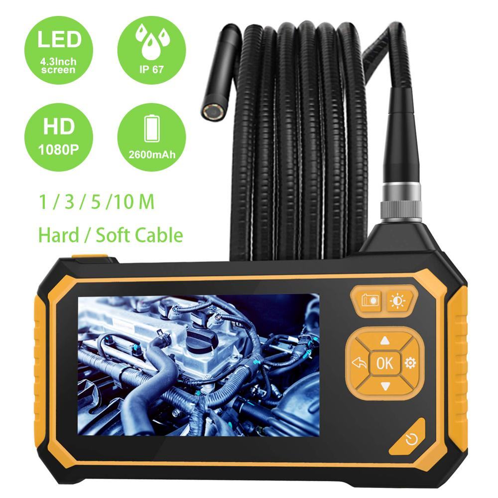 Endoscope Camera 8mm Car Flexible Endoscopio 1080P HD Industrial Inspection Camera Handheld Borescope 4.3 inch Screen Videoscope