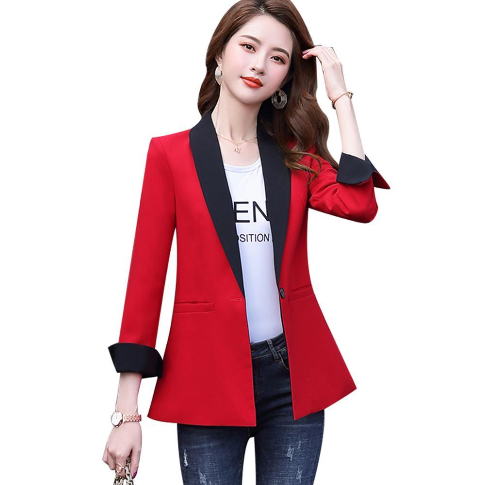 أزياء المرأة الأحمر رمادي واحد زر السترة الخريف الشتاء أبلى عارضة الستر الخامس الرقبة الكامل كم معطف لفتاة S-4XL
