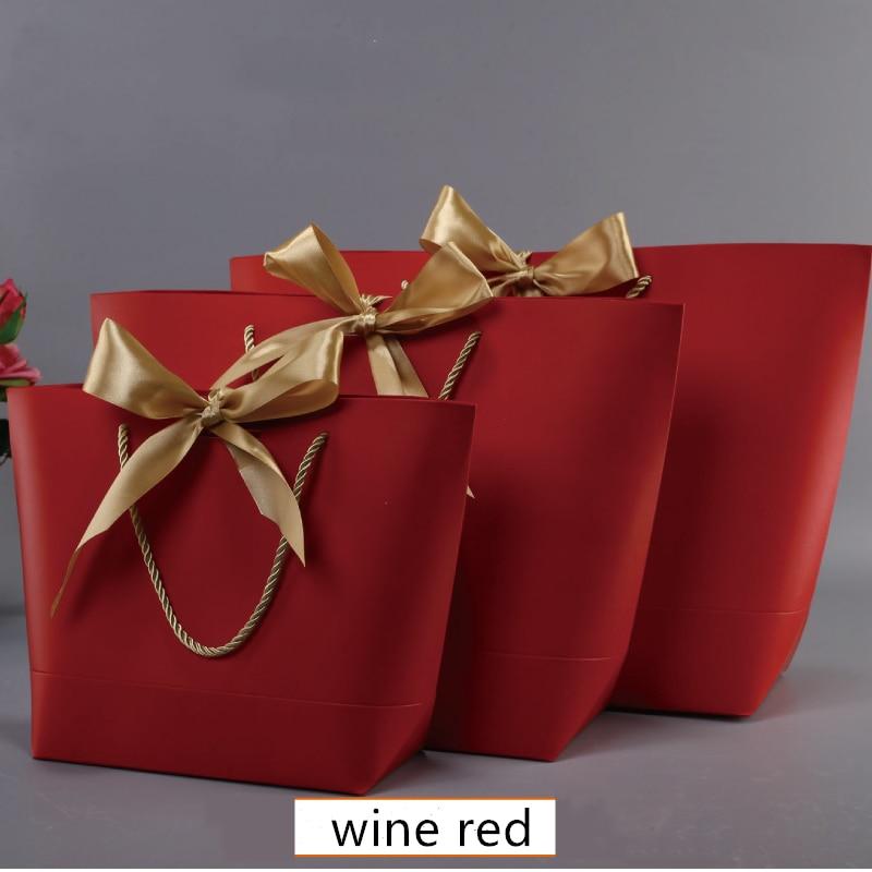 Caja de regalo de gran tamaño, bolsas de regalo de Papel Kraft con mango dorado, con asas de papel Kraft bolsas de regalo, recuerdo de fiesta de cumpleaños de Baby Shower de boda
